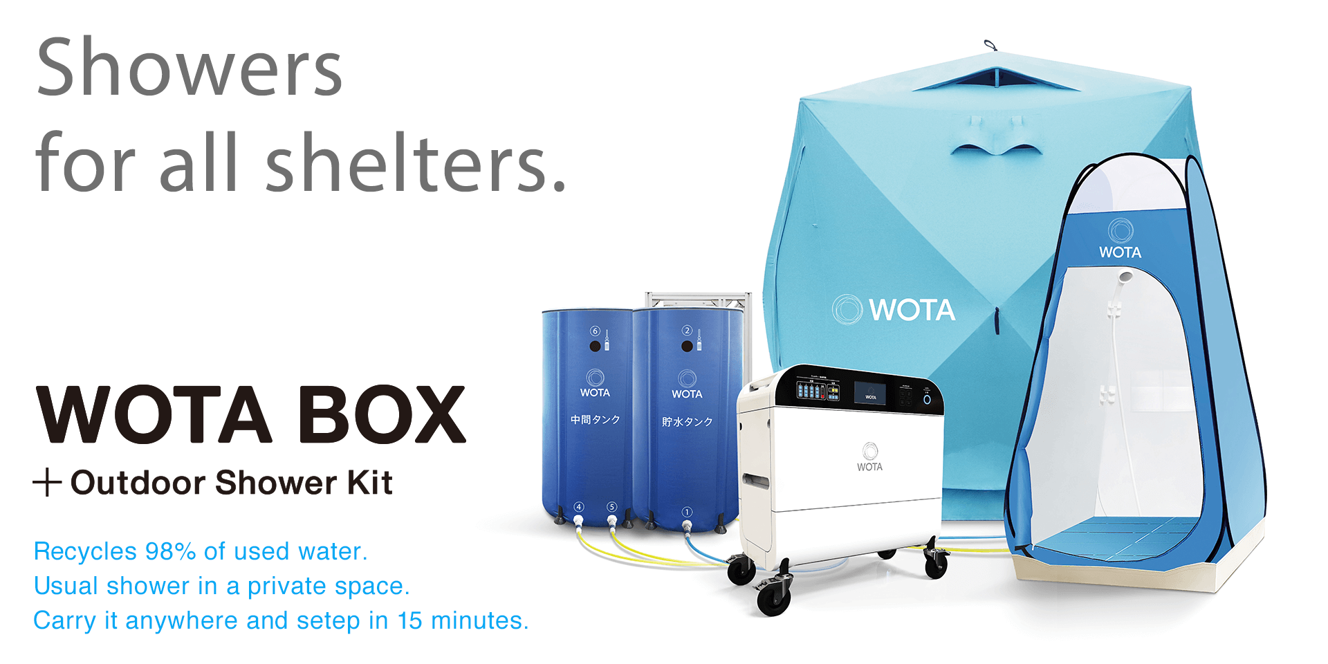 Showers for all shelters. WOTA BOX + Outdoor Shower Kit